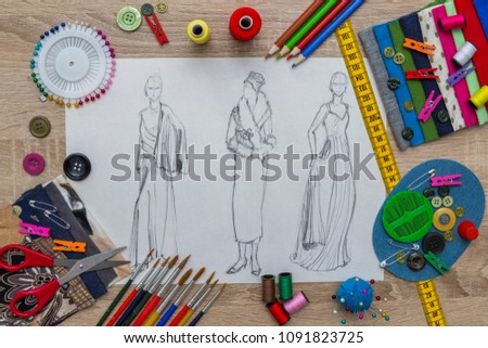 Fashion Designer Dress Sketch #1091823725