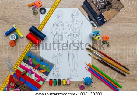 Fashion Designer Dress Sketch #1096130309