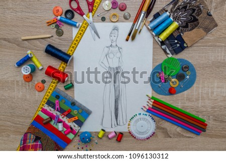Fashion Designer Dress Sketch #1096130312