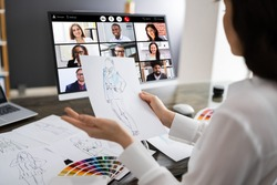 Fashion Designer Online Video Conference Call. Remote Meeting
