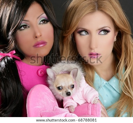 fashion doll women with chihuahua dog pink 1980s style
