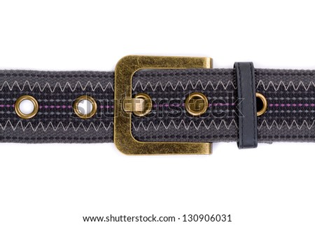 fashion fabric belt with metal buckle on white
