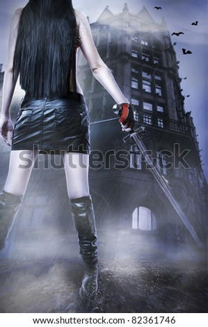 Stock Photo Fashion fantasy portrait of unknown amazing sexy woman with medieval sword stay about old house by rain.