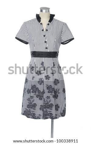Fashion female clothing in mannequin on white background