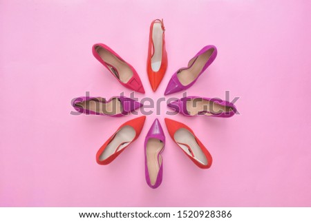 Fashion. female round high-heeled shoes on pink background. Stylish Trendy heels Summer fashion girl accessories.. fashion concept    #1520928386