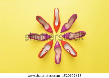 Fashion. female round high-heeled shoes on yellow background. Stylish Trendy heels Summer fashion girl accessories.. fashion concept    #1520929613