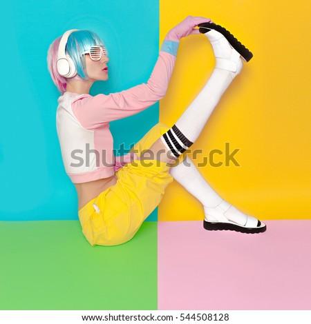 Fashion Fitness DJ Girl Creative pop art style. Minimal design fashion Sweet colors