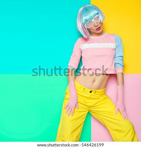 Fashion Fitness Girl Creative pop art style. Minimal design fashion Sweet colors