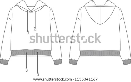 Fashion flat drawing of hooded sweatshirt