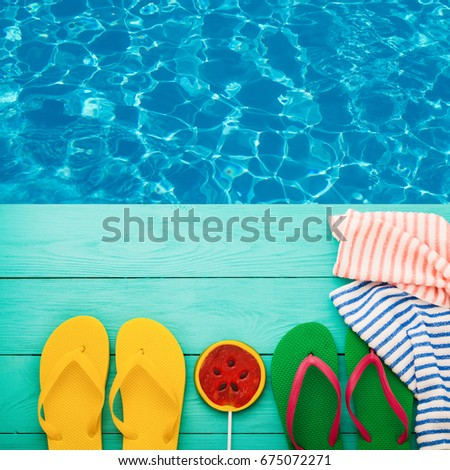 64a84733a Summer vacation. Pink sandals by… Stock Photo 277400750 - Avopix.com