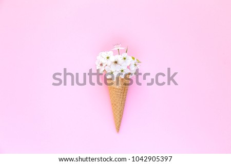 Fashion food set of Ice cream cone with white flowers on top over a pink background, minimalistic design. Top view #1042905397