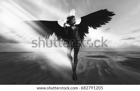 Stock Photo fashion futuristic - black wings and woman - 3d rendering