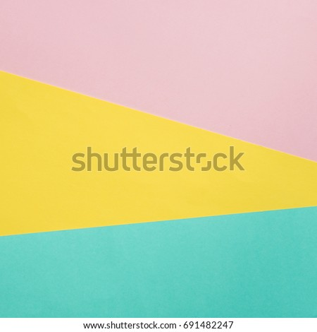 fashion geometric abstract texture of pink, yellow and blue papers #691482247
