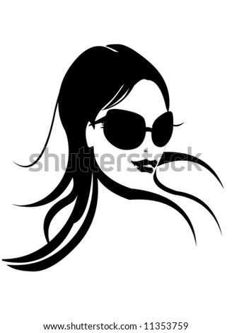 Fashion Girl Face in Black & White