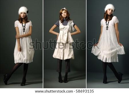 fashion girl full length in white dress, studio shot, collage