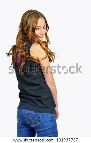 fashion girl in blue jeans