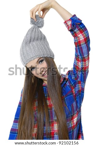 fashion girl in hat isolated on white background