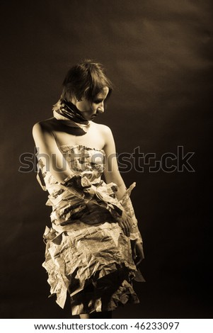 fashion girl in paper dress