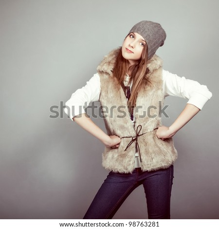 fashion girl in winter clothes