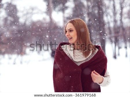 fashion girl in winter on the street