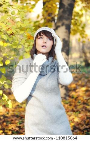 Fashion girl portrait, autumn outdoor.