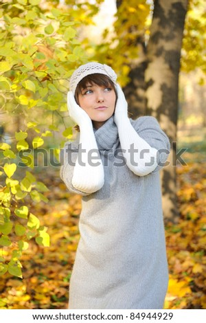 Fashion girl portrait, autumn outdoor.