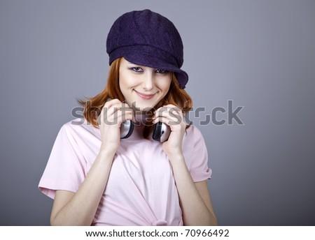Fashion girl with headphone.
