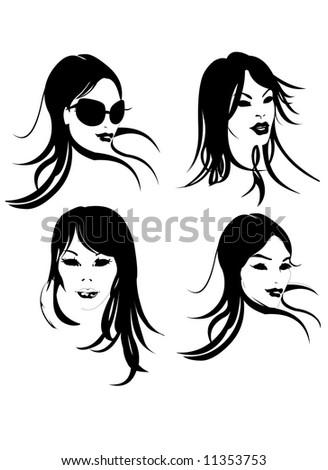 Fashion Girls Faces in Black & White