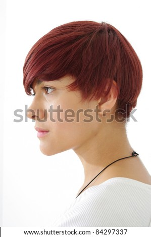 fashion hair styling red hair girl head and shoulder side profile