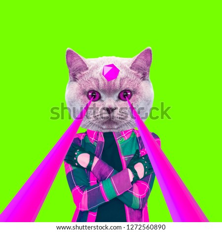 Fashion hipster Cat with lasers from eyes. Animal fun collage art #1272560890