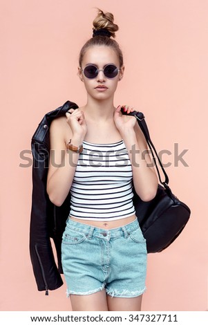 fashion hipster cool girl in...