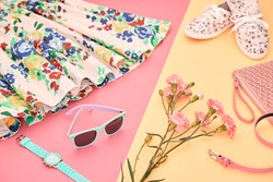 Fashion Hipster girl Accessories Clothes Set. Trendy Glamour Sunglasses, Summer Floral Gumshoes. Stylish hat, Flower. Urban Creative woman Outfit. Bright Design Color