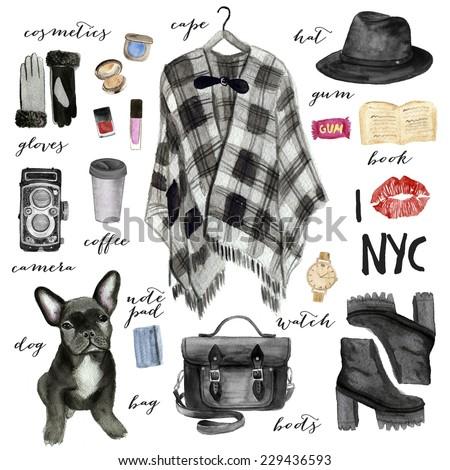 Fashion illustration. New York city style.