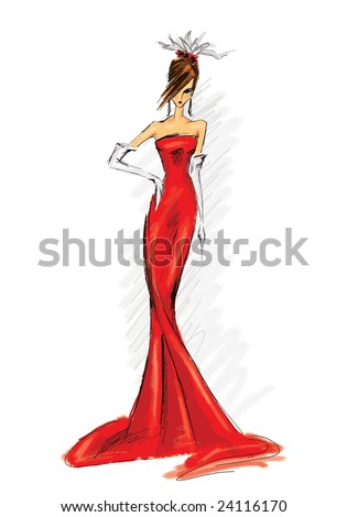 Long Dress on Illustration Of Model In Long Red Dress   24116170   Shutterstock