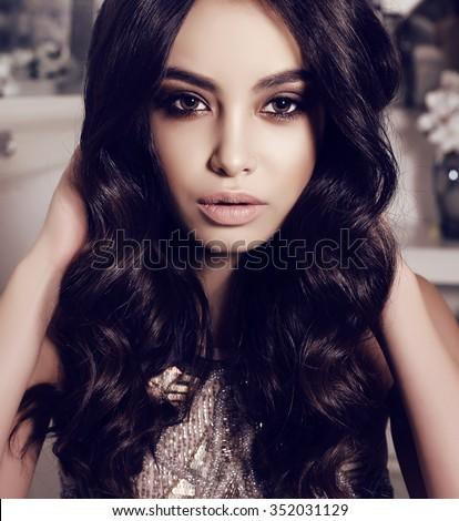 6069057f763 fashion interior photo of beautiful sensual woman with long dark hair wears  elegant dress