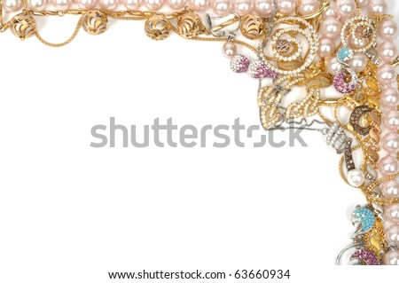 Fashion jewelry frame, isolated on white background