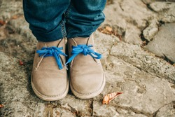 Fashion lace shoes on kid's feet, footwear for children
