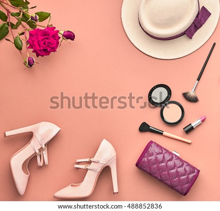 Fashion Lady Accessories Set. Fashion Cosmetic Makeup. Stylish Handbag Glamor Heels, Hat Rose. Trendy fashion Design. Top view. Woman Essentials. Fall Fashion. Vintage. Retro.Cosmetic Overhead.Minimal