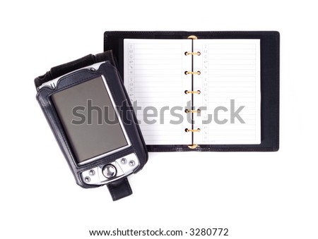 Fashion leather notebook with pocket pc isolated over white background