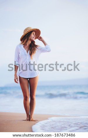 Fashion Lifestyle, Beautiful girl on the beach at sunset.