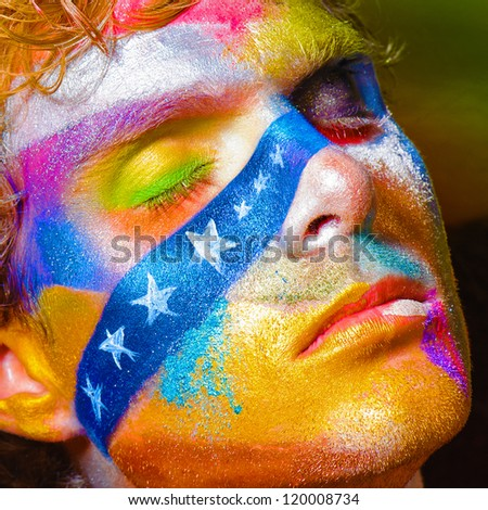 Fashion make-up color Face art model portrait graphic line whith white star closed eyes, green yellow blue red orange lips