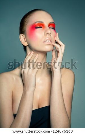 Fashion Make-Up. Face Art. Beauty. Female Portrait. Model Face ...