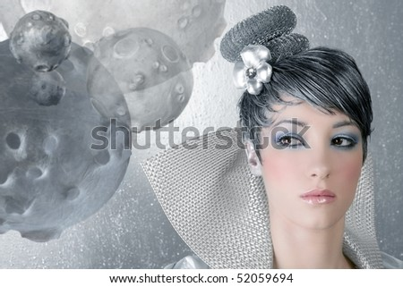 fashion makeup hairstyle woman futuristic trendy silver portrait [Photo Illustration]