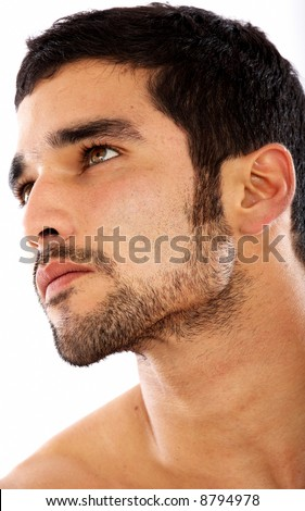 fashion male portrait looking away deep in thought - isolated over a white background - stock photo