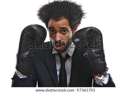 Fashion man and his boxing gloves
