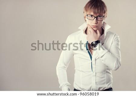 fashion man close up portrait in studio tint color
