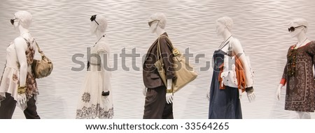 Fashion mannequins in window