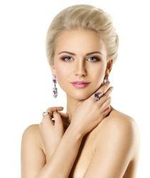 Fashion Model Beauty Portrait, Woman Jewelry Ring and Earring, Elegant Lady Makeup and Hairstyle over White Background