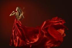Fashion Model Dance in Red Dress, Dancing Beautiful Woman, Flying Fluttering Fabric, Happy Girl Rear Back View
