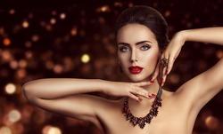 Fashion Model Face Makeup, Woman Beauty Make Up Portrait, Beautiful Girl Jewelry